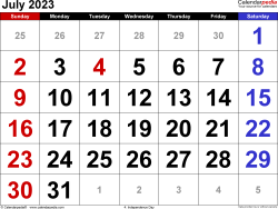 July 2023 calendar, landscape orientation, large numerals, available as printable templates for Word, Excel and PDF