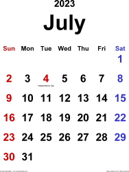 July 2023 calendar, portrait orientation, classic, available as printable templates for Word, Excel and PDF