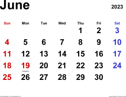 June 2023 calendar, landscape orientation, classic, available as printable templates for Word, Excel and PDF