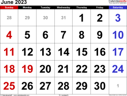 June 2023 calendar, landscape orientation, large numerals, available as printable templates for Word, Excel and PDF