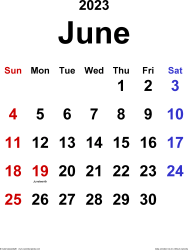 June 2023 calendar, portrait orientation, classic, available as printable templates for Word, Excel and PDF