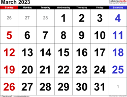 March 2023 calendar, landscape orientation, large numerals, available as printable templates for Word, Excel and PDF