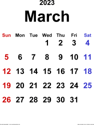 March 2023 calendar, portrait orientation, classic, available as printable templates for Word, Excel and PDF