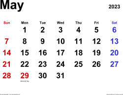 May 2023 calendar, landscape orientation, classic, available as printable templates for Word, Excel and PDF