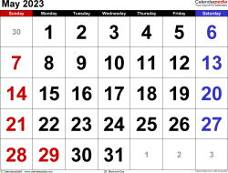 May 2023 calendar, landscape orientation, large numerals, available as printable templates for Word, Excel and PDF