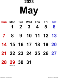 May 2023 calendar, portrait orientation, classic, available as printable templates for Word, Excel and PDF