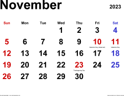 November 2023 calendar, landscape orientation, classic, available as printable templates for Word, Excel and PDF