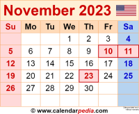 November 2023 calendar as a graphic/image file in PNG format