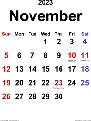 November 2023 calendar, portrait orientation, classic, available as printable templates for Word, Excel and PDF