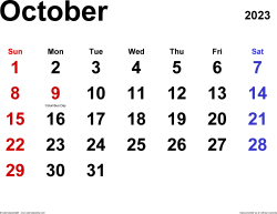 October 2023 calendar, landscape orientation, classic, available as printable templates for Word, Excel and PDF