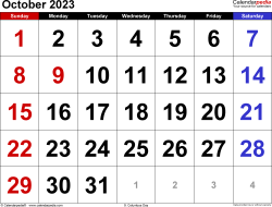 October 2023 calendar, landscape orientation, large numerals, available as printable templates for Word, Excel and PDF