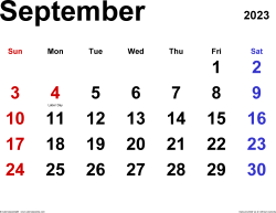 September 2023 calendar, landscape orientation, classic, available as printable templates for Word, Excel and PDF