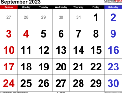 September 2023 calendar, landscape orientation, large numerals, available as printable templates for Word, Excel and PDF