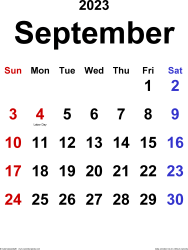 September 2023 calendar, portrait orientation, classic, available as printable templates for Word, Excel and PDF