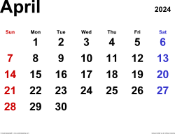 April 2024 calendar, landscape orientation, classic, available as printable templates for Word, Excel and PDF
