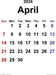 April 2024 calendar, portrait orientation, classic, available as printable templates for Word, Excel and PDF