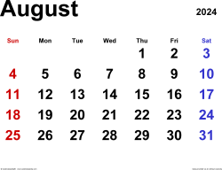 August 2024 calendar, landscape orientation, classic, available as printable templates for Word, Excel and PDF