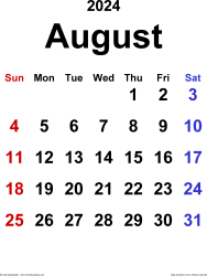 August 2024 calendar, portrait orientation, classic, available as printable templates for Word, Excel and PDF