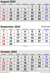 three month calendar August/September/October 2024 in portrait orientation, available as printable templates for Word, Excel and PDF