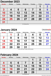 three month calendar December 2023/ January/February2024 in portrait orientation, available as printable templates for Word, Excel and PDF