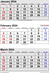 three month calendar January/February/March 2024 in portrait orientation, available as printable templates for Word, Excel and PDF