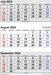three month calendar July/August/September 2024 in portrait orientation, available as printable templates for Word, Excel and PDF