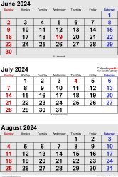 three month calendar June/July/August 2024 in portrait orientation, available as printable templates for Word, Excel and PDF