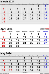 three month calendar March/April/May 2024 in portrait orientation, available as printable templates for Word, Excel and PDF
