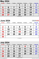 three month calendar May/June/July 2024 in portrait orientation, available as printable templates for Word, Excel and PDF