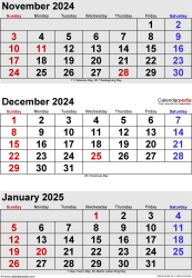three month calendar November/December 2024& January 2025 in portrait orientation, available as printable templates for Word, Excel and PDF