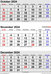 three month calendar October/November/December 2024 in portrait orientation, available as printable templates for Word, Excel and PDF