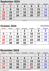 three month calendar September/October/November 2024 in portrait orientation, available as printable templates for Word, Excel and PDF