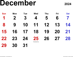 December 2024 calendar, landscape orientation, classic, available as printable templates for Word, Excel and PDF