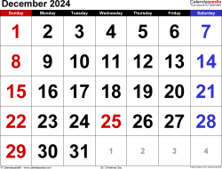 December 2024 calendar, landscape orientation, large numerals, available as printable templates for Word, Excel and PDF