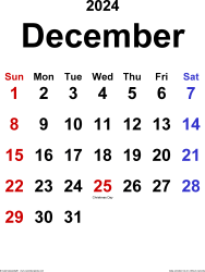 December 2024 calendar, portrait orientation, classic, available as printable templates for Word, Excel and PDF