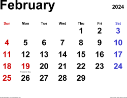February 2024 calendar, landscape orientation, classic, available as printable templates for Word, Excel and PDF