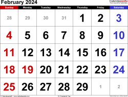 February 2024 calendar, landscape orientation, large numerals, available as printable templates for Word, Excel and PDF