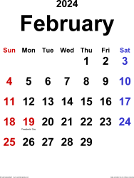February 2024 calendar, portrait orientation, classic, available as printable templates for Word, Excel and PDF