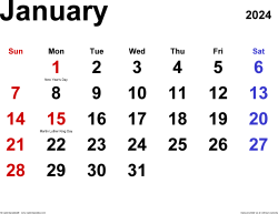 January 2024 calendar, landscape orientation, classic, available as printable templates for Word, Excel and PDF