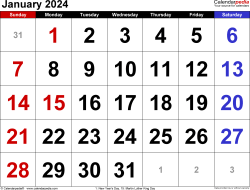 January 2024 calendar, landscape orientation, large numerals, available as printable templates for Word, Excel and PDF