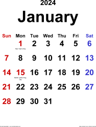 January 2024 calendar, portrait orientation, classic, available as printable templates for Word, Excel and PDF