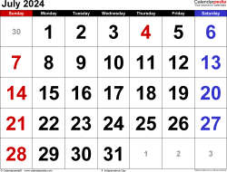 July 2024 calendar, landscape orientation, large numerals, available as printable templates for Word, Excel and PDF
