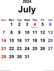 July 2024 calendar, portrait orientation, classic, available as printable templates for Word, Excel and PDF
