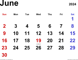 June 2024 calendar, landscape orientation, classic, available as printable templates for Word, Excel and PDF