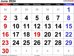 June 2024 calendar, landscape orientation, large numerals, available as printable templates for Word, Excel and PDF