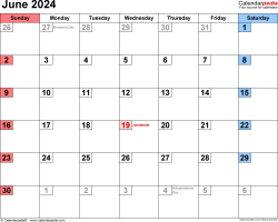 June 2024 calendar, landscape orientation, small numerals, available as printable templates for Word, Excel and PDF