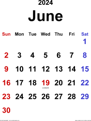 June 2024 calendar, portrait orientation, classic, available as printable templates for Word, Excel and PDF
