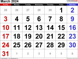March 2024 calendar, landscape orientation, large numerals, available as printable templates for Word, Excel and PDF