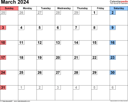 March 2024 calendar, landscape orientation, small numerals, available as printable templates for Word, Excel and PDF