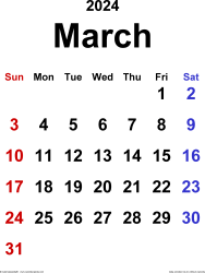 March 2024 calendar, portrait orientation, classic, available as printable templates for Word, Excel and PDF